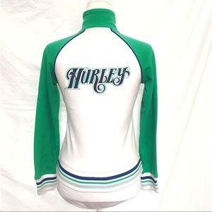 Hurley white green varsity striped bomber jacket